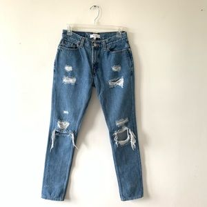 Re/Dun x Levis High Rise Straight Skinny Jeans 25